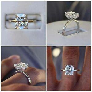 14K Solid White Gold Cushion Cut 2.15 Carat Diamond Engagement Rings Size M N O