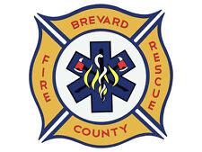 4x4 inch BREVARD COUNTY FIRE RESCUE Logo Shaped Sticker - fl firefighter florida