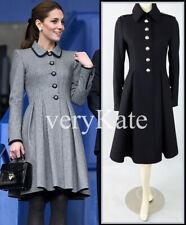BURBERRY PRORSUM BLACK WOOL PLEAT MILITARY SWING RIDING DRESS COAT UK8 US4 6