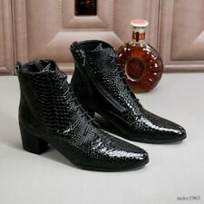 Mens Cuban High Heel Ankle Boots Formal Business Pointed Toe Dress Shoes 2020