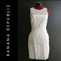 Banana Republic Woman Career Formal Sleeveless Shift Dress Size 4 White