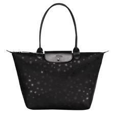 LONGCHAMP Bag LE PLIAGE BLACK Limited Ed ETOILES STARS Large Long Handle PARIS