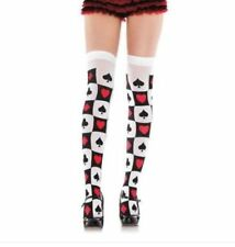 Womens/Ladies Playing Card Pattern Nylon Thigh High Socks Stockings