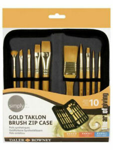 Daler Rowney Simply Acrylic Brush Zip Case- 10 x Art Paint Brushes & Wallet