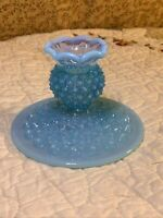 Fenton Mid Century Modern Blue Opalescent Hobnail Glass Candle Stick Holder