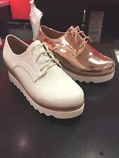 womens platform shoe.white,rosegold,oxford,wedge,lace,
