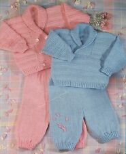 Vintage Knitting Pattern For Easy Knit Baby Sweater, Cardigan And Trousers