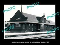 OLD LARGE HISTORIC PHOTO OF RUGBY NORTH DAKOTA, THE RAILROAD DEPOT c1960