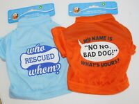 Puppy Dog T Shirts TWO Very Small Who Rescued Whom & My Name No No Size Medium