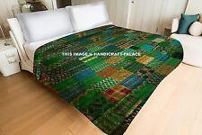Vintage Indian Green Silk Sari patchwork Handmade Kantha Quilt Bedspread- KING