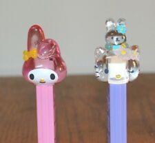 Hello Kitty Pez Dispensers set of 2 Crystal Head Red and Clear w/ Bunny Hat