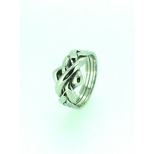 Puzzle Ring By Herron Sterling Silver Four Piece Puzzle Ring Size (I-Q)