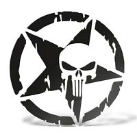 Sticker PUNISHER STELLA MILITARE ARMY Adesivo Decal Casco Auto Moto Teschio PVC