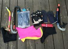 Scuba Dive Snorkel Lot Set Bundle Leather Gloves, Booties, Pink Hood, New Gloves