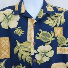 Hilo Hattie  L Blue Gold Green Turtle Honu  Floral Hawaiian Aloha Shirt Cotton