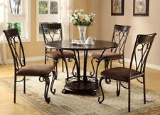 41'H Concise Style Vintage Look Metal Leg Chair In Brown Coating- Set Of 2-Asdi