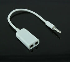 2X For iphone 1 to 2  Audio Headphone Headset Earphone Splitter Cable 3.5mm -CL