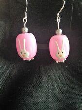 Pendientes de conejo, rosa, oval-sólo uno disponible!