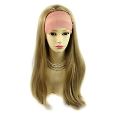 Heat Resistant Golden Blonde 3/4 Fall Hair Piece Long Straight Half Wig