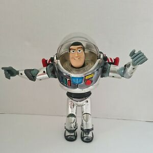 """Vintage 1996 Toy Story 12"""" Chrome Intergalactic Buzz Lightyear  thinkway toys"""