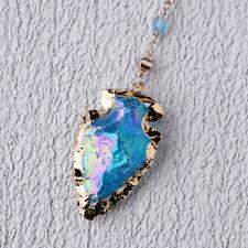 Gold Natural Rough Raw Aura Quartz Arrowhead Geode Druzy Necklace Gemstone Blue