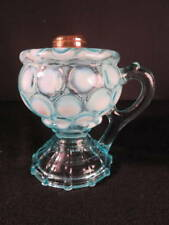 1890's Blue Opalescent 'Coin Spot' Patterned Kero Oil No. 1 Footed Finger Lamp
