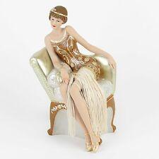 Juliana Art Deco Gatsby Girls Brown / Gold Lady Figurine / Ornament.New.58234