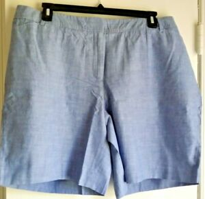 """NEW WITH TAGS! TALBOTS Cotton Chambray 9"""" Perfect Shorts-Plus 20W-Blue"""
