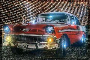 LED Bild 65 cm x 45 cm Leuchtbild Muscle Car Oldtimer US Car Auto Nostalgie Auto
