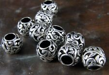 Bali Copper Bead-Antique Silver Tone Finish-Carved Floral-Bohemian-12mm