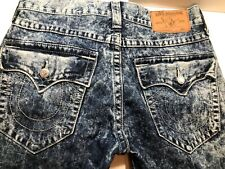 True Religion Authentic Mens Size 32 X 33 Straight Blue Jeans Bleached Denim