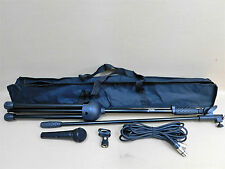 TWO (x2) Haze MS-1 Dynamic Microphone-Stand-Cable-Clasp FULL KITS w/Carry Bags