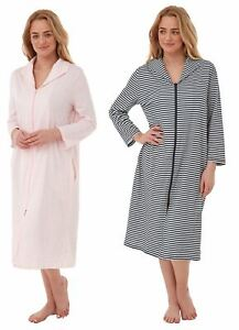 Womens/Ladies Zip Through 100% Cotton Striped Robe Housecoat Gown Navy/Pink