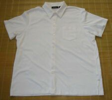 DKNY Men's Short Sleeve White Casual Shirt Size L Button Front Pocket