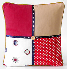 """NEW  PATCHWORK  CUSHION COVER 16""""  BUTTONS SPOTS CHECK BLUE RED KIDS"""