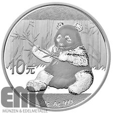 Chine - 10 yuan 2017-panda-ours - 30 gr. argent appendice pièce dans tampon brillance