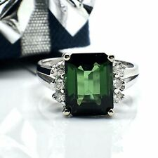 14k White Gold Natural Diamond and Tourmaline Ring