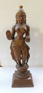 VINTAGE OLD WOODEN HAND CARVED LAXMI FIGURE DECORATIVE STATUE NH4733