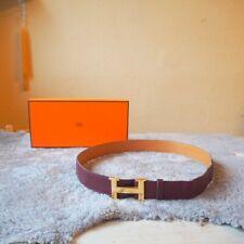 Original Hermes Paris H Gürtel Belt mit BOX Bordeaux Braun Gold 95cm France