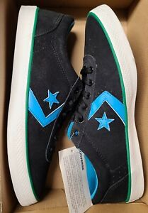 NEW Men's Size 10 Converse Wells OX Black Low Top Shoes Green Blue 136471C