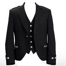 """Argyle jacket and vest Black color Wool Polyester size 38"""" to 52"""" ( Uk Stock )"""