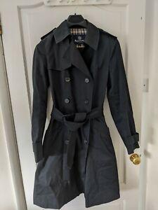 Aquascutum Trench Coat Mac UK 12 Black