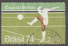 Brazil #1351 used 2.50cr Soccer World Cup single from S/S 1974 cv $17