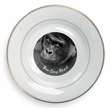 Gorilla 'You Sexy Beast' Gold Rim Plate in Gift Box Christmas Present, AM-12PL