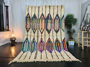 """Boujad Handmade Moroccan Vintage Rug 5'5""""x8'6"""" Geometric Beige Berber Wool Rug"""