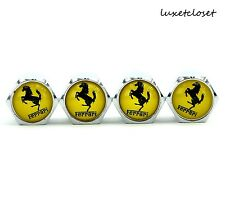 NEW (4PC) FERRARI YELLOW BLACK LOGO WHEEL TIRE AIR VALVE STEM CAP COVER AC009