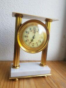 ANCIENNE Pendulette Laiton Marbre VEDETTE pendule carillon horloge no odo