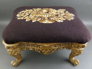 Antique Ornate Cast Iron Small Footstool Stool Brown & Gold Wool Needlepoint Top