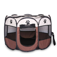 8 Side Pet Dog Cat Washable Cage  Play Tent Exercise Pens Foldable Crate Playpen