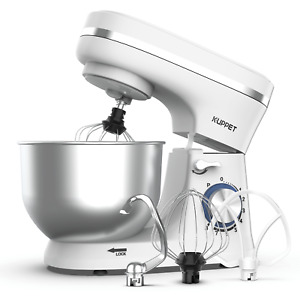 Electric Food Stand Mixer 4.7QT Tilt-Head 8 Speed Stainless Steel Bowl White